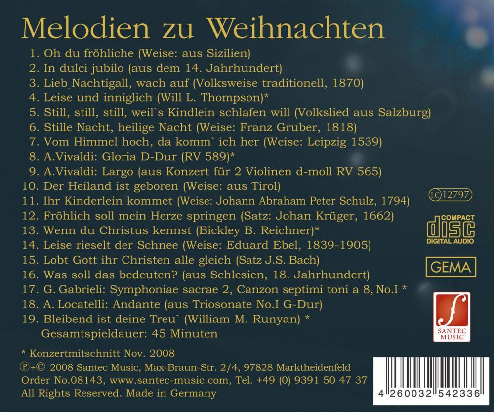 CD Melodien zu Weihnachten: Bekannte Weihnachtslieder